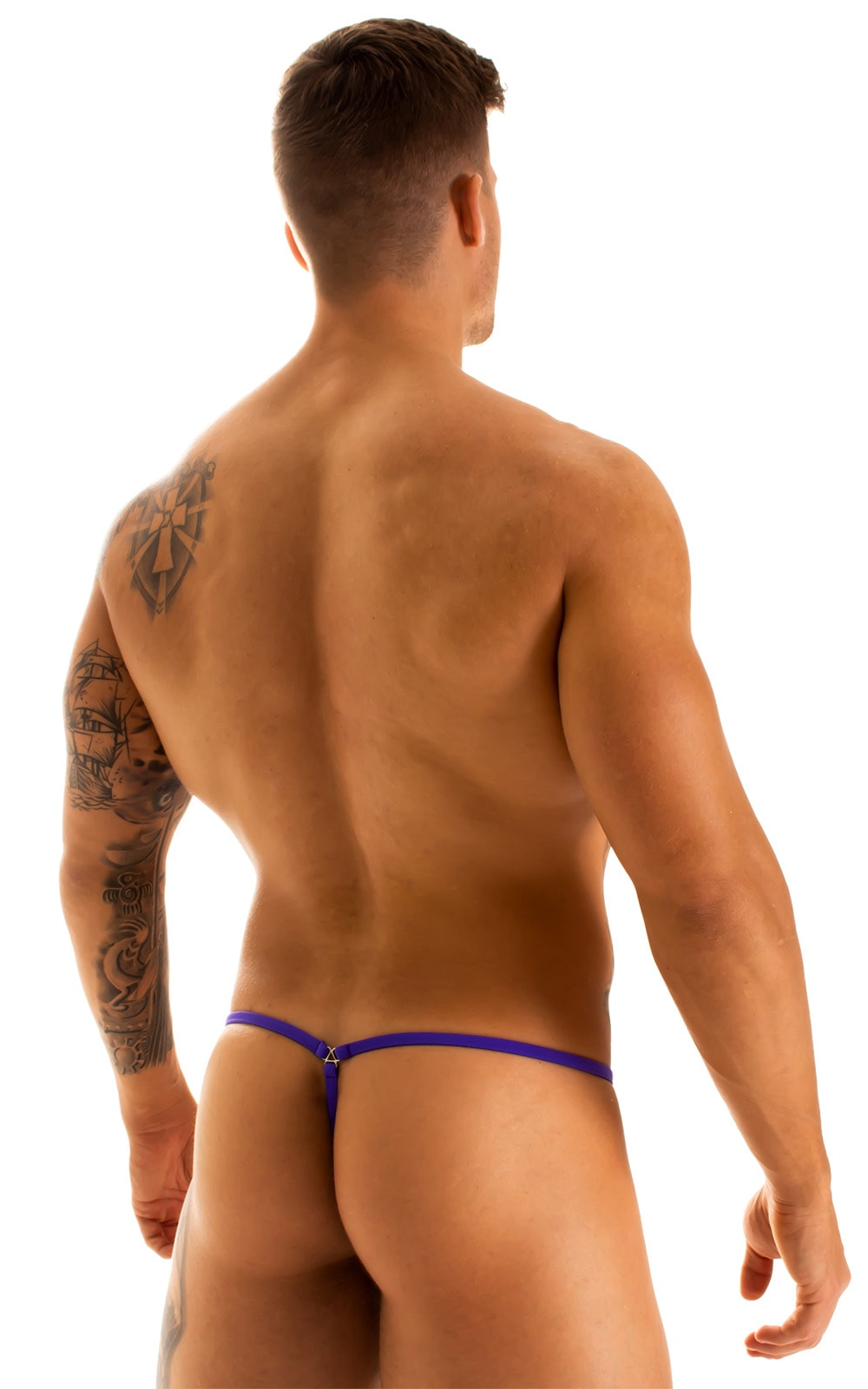 G String Swimsuit - Adjustable Pouch in Super ThinSkinz Deep Sea with Indaco Strings  2
