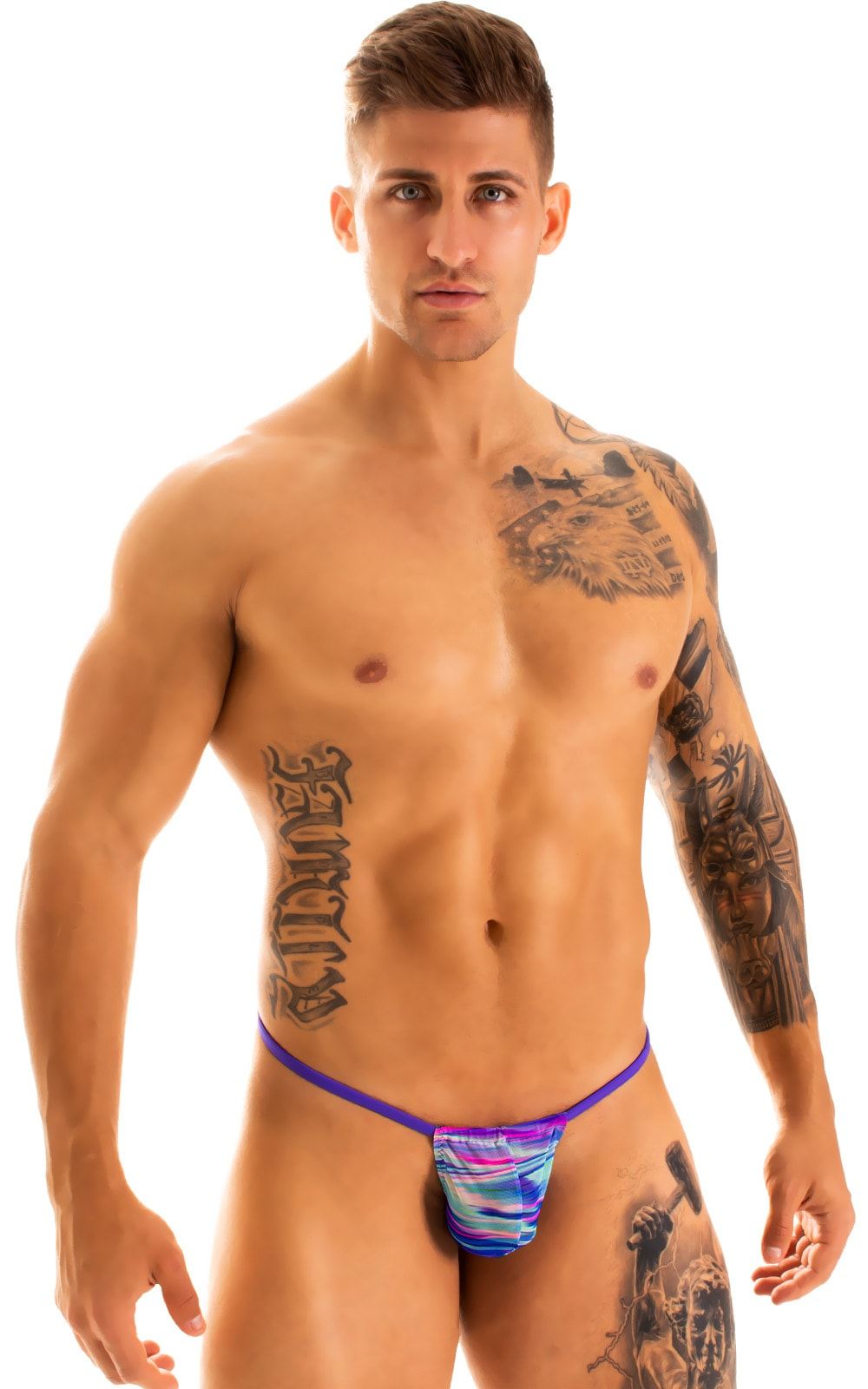 G String Swimsuit - Adjustable Pouch in Phaser on Mesh with Indaco Strings  1