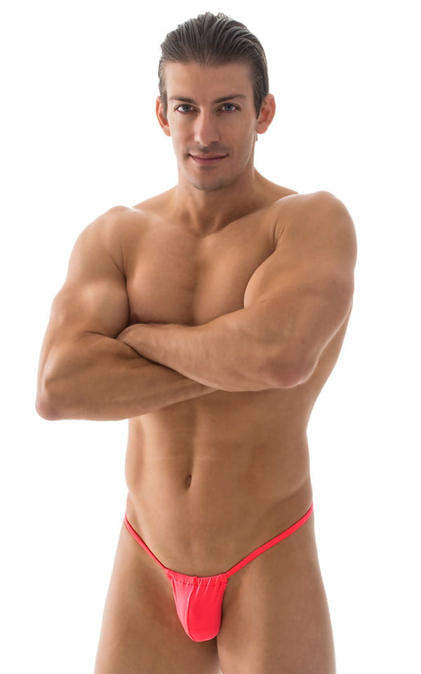G String Swimsuit - Adjustable Pouch in ThinSKINZ Neon Coral 4