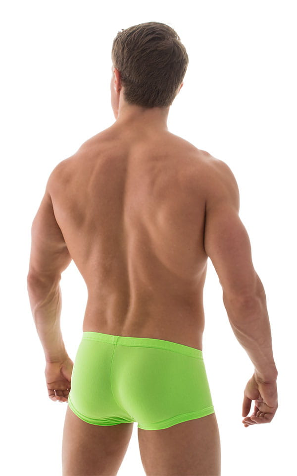 Extreme Low Square Cut Swim Trunks in ThinSKINZ Neon Lime 5