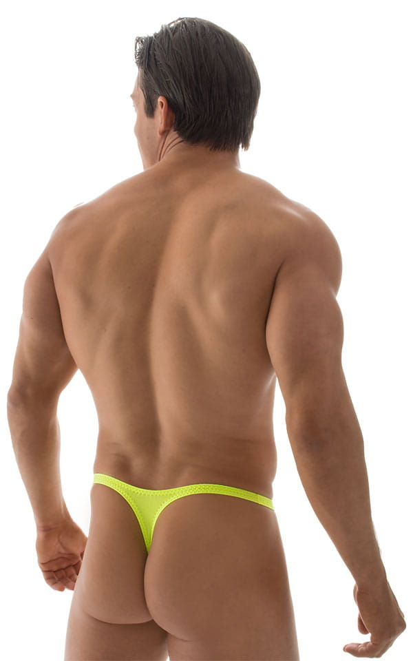 T Back Thong Swimsuit - Bravura Pouch in ThinSKINZ Chartreuse 3
