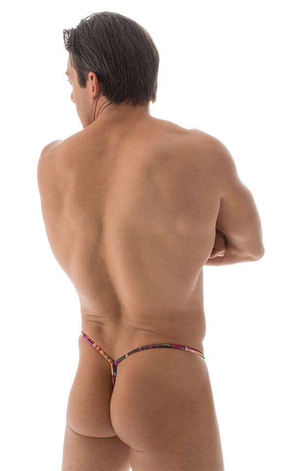 Y Back G String Swim Thong in ThinSKINZ Optic Plaid 3