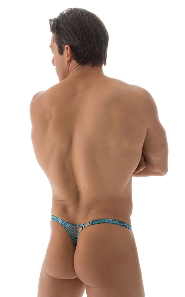Stuffit Pouch Thong Back Swimsuit in Turquoise Python Mesh 3