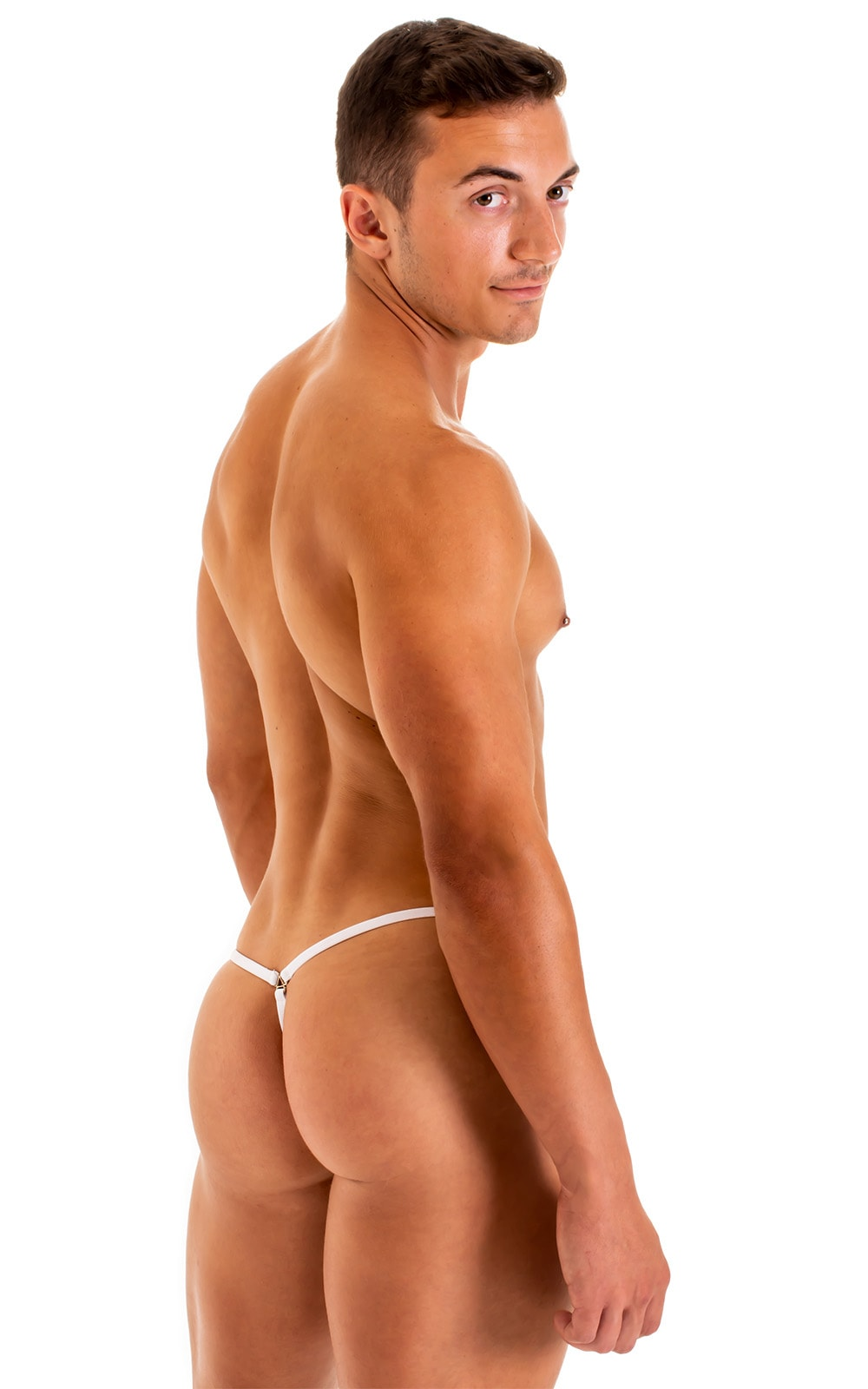 G String Swimsuit - Adjustable Pouch in Super ThinSkinz White 6.9