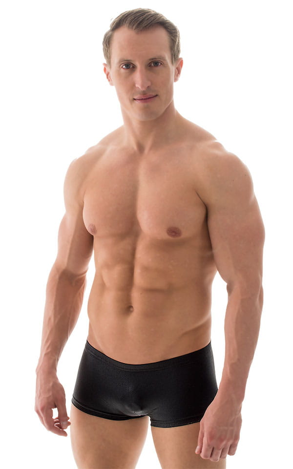 Extreme Low Square Cut Swim Trunks in Wet Look Black 6