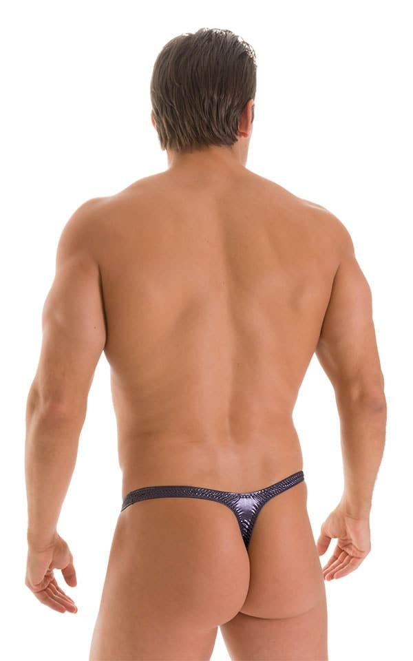 T Back Thong Swimsuit - Bravura Pouch in Ice Karma Nero 2