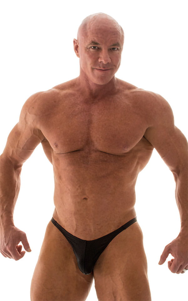 Fitted Pouch - Puckered Back - Posing Suit in Wet Look Black 5