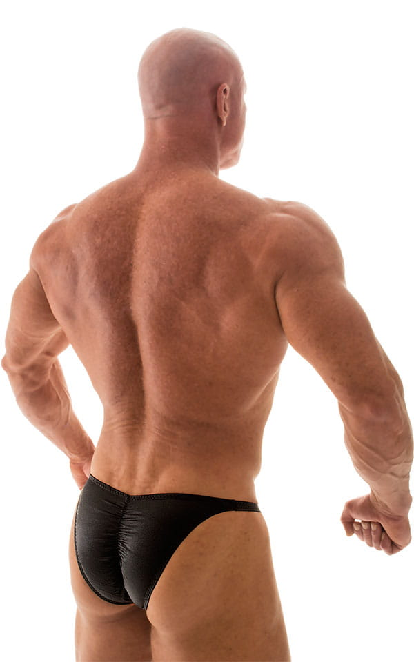 Fitted Pouch - Puckered Back - Posing Suit in Wet Look Black 6