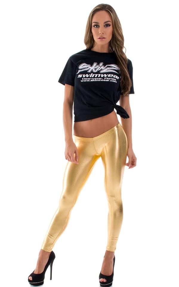 Womens Super Low Rise Leggings in Liquid Gold 1