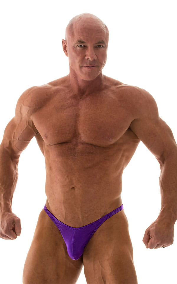 Fitted Pouch - Puckered Back - Posing Suit in Wet Look Purple 1