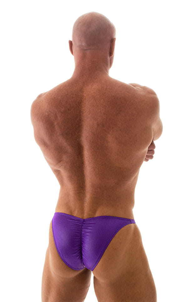 Fitted Pouch - Puckered Back - Posing Suit in Wet Look Purple 3