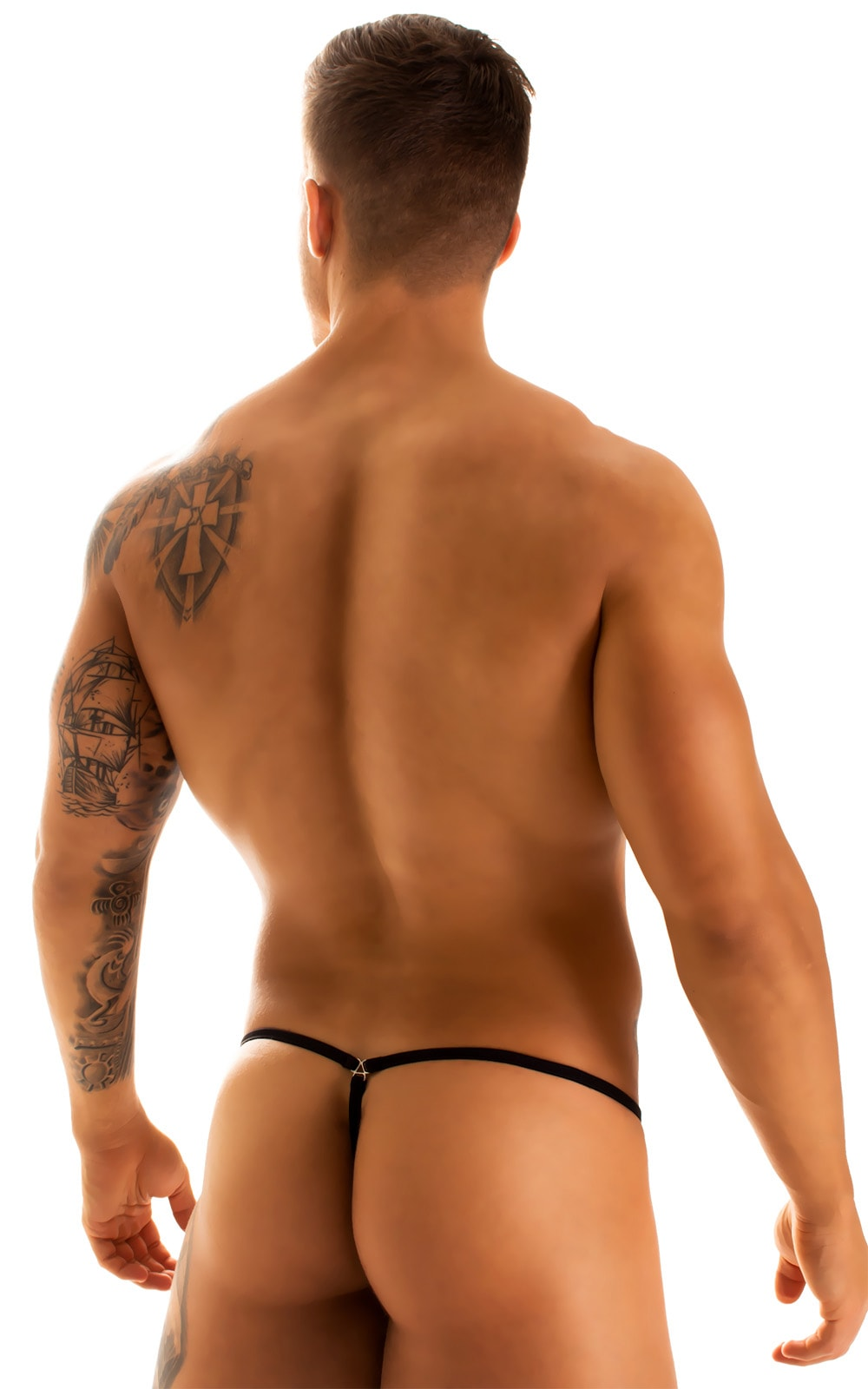 G String Swimsuit - Adjustable Pouch in Black Spiderweb Mesh with Black Strings  2