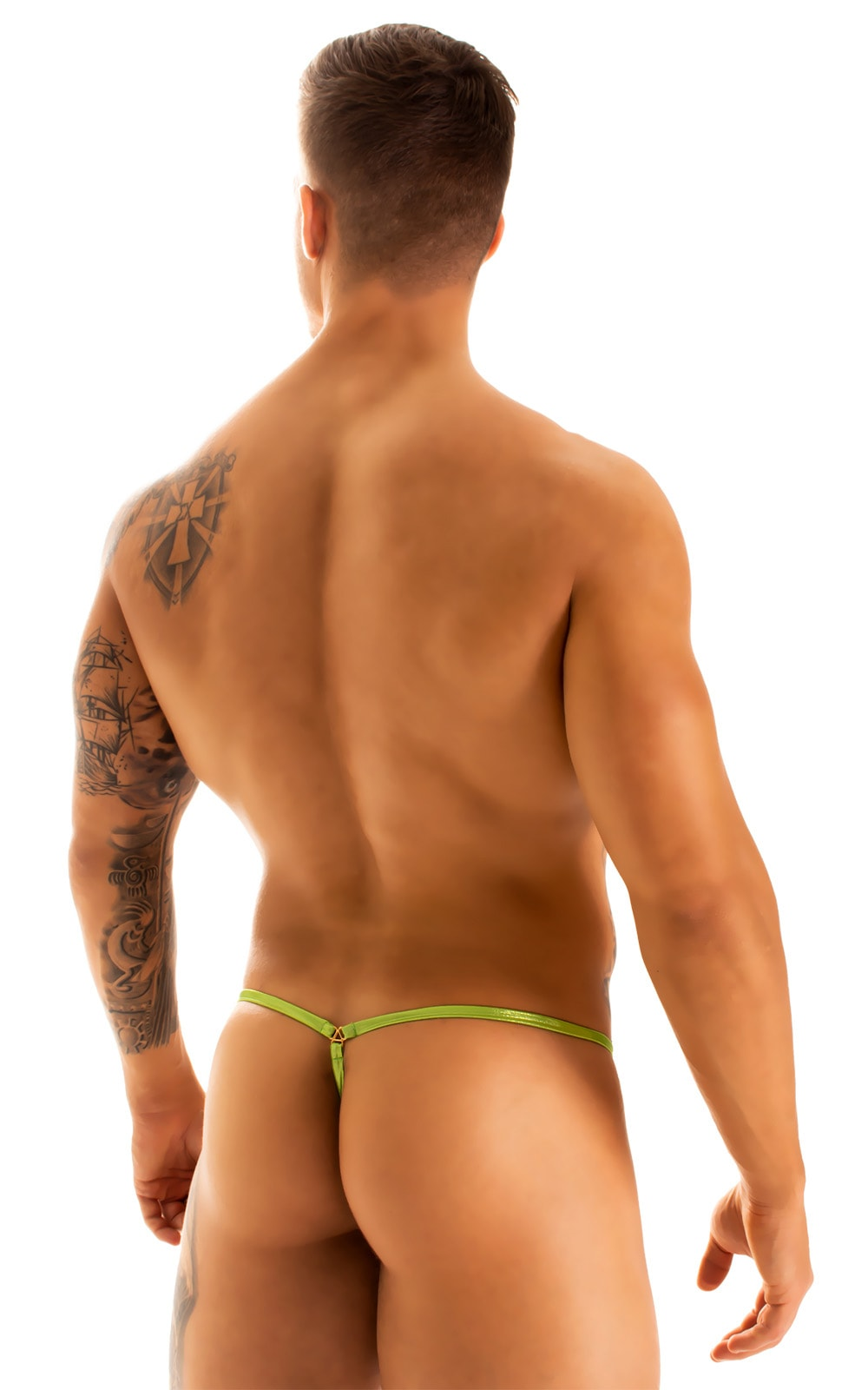 G String Swimsuit - Adjustable Pouch in Ice Karma Lemon-Lime  2