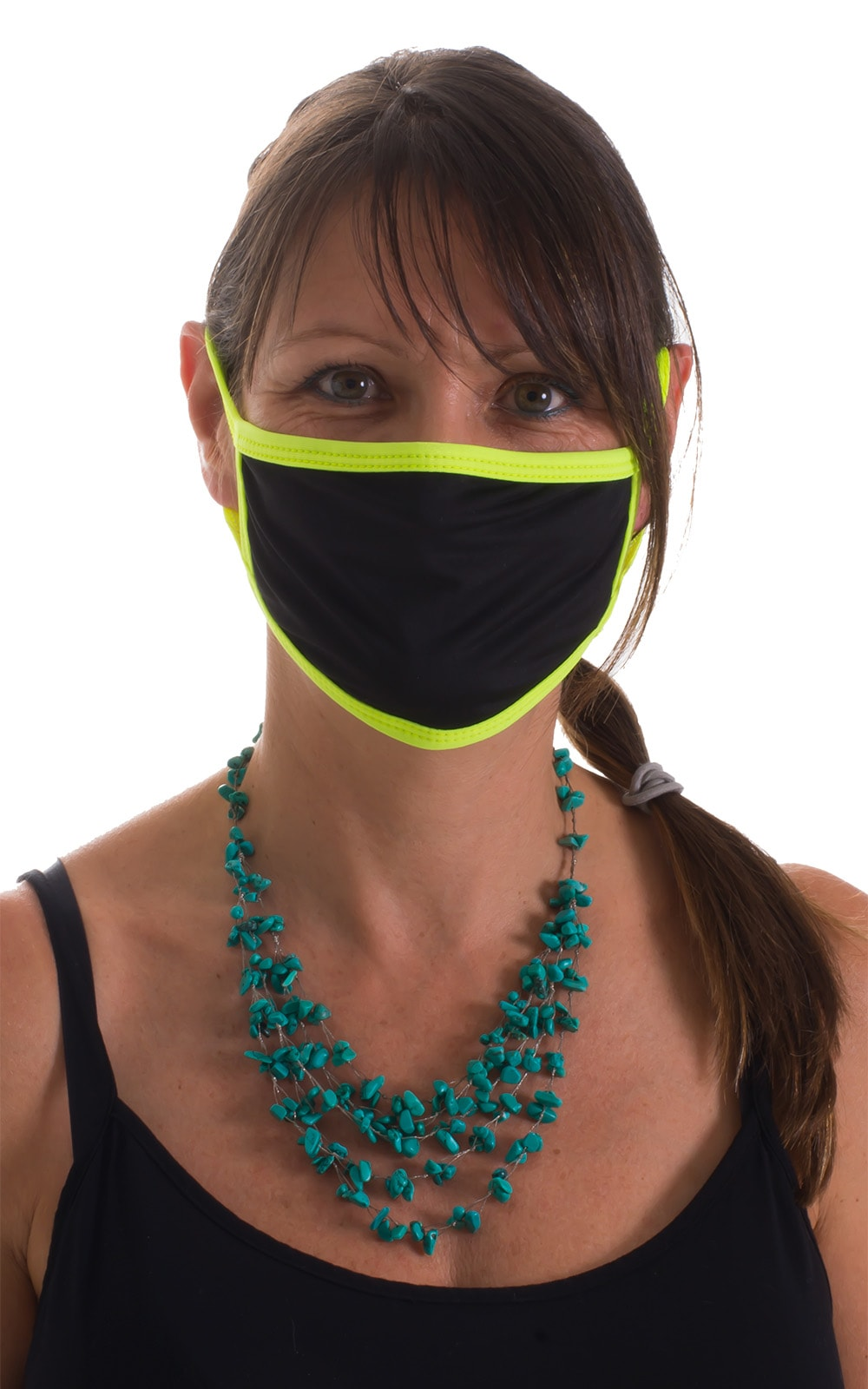 Black-Chartreuse 2-ply face mask 4