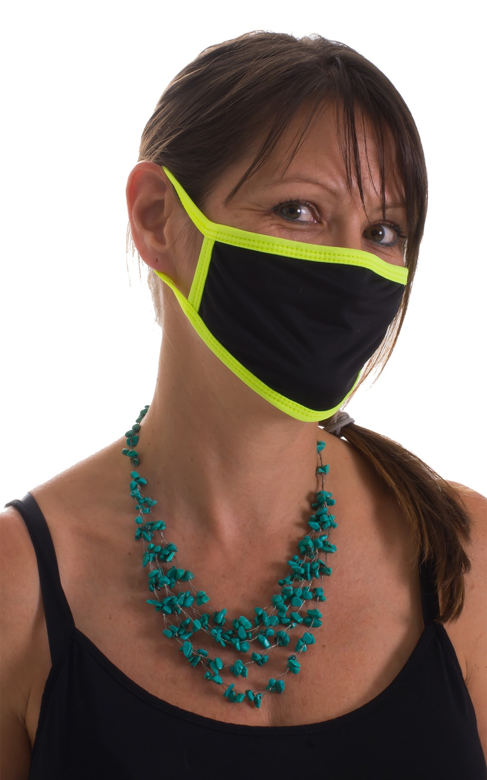 Black-Chartreuse 2-ply face mask 5