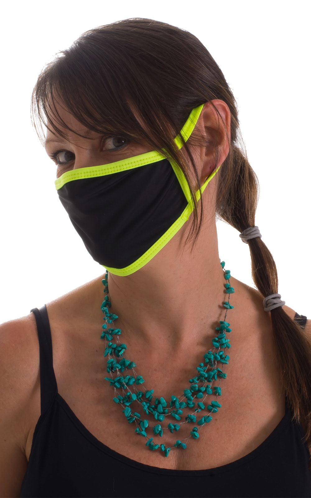 Black-Chartreuse 2-ply face mask 3