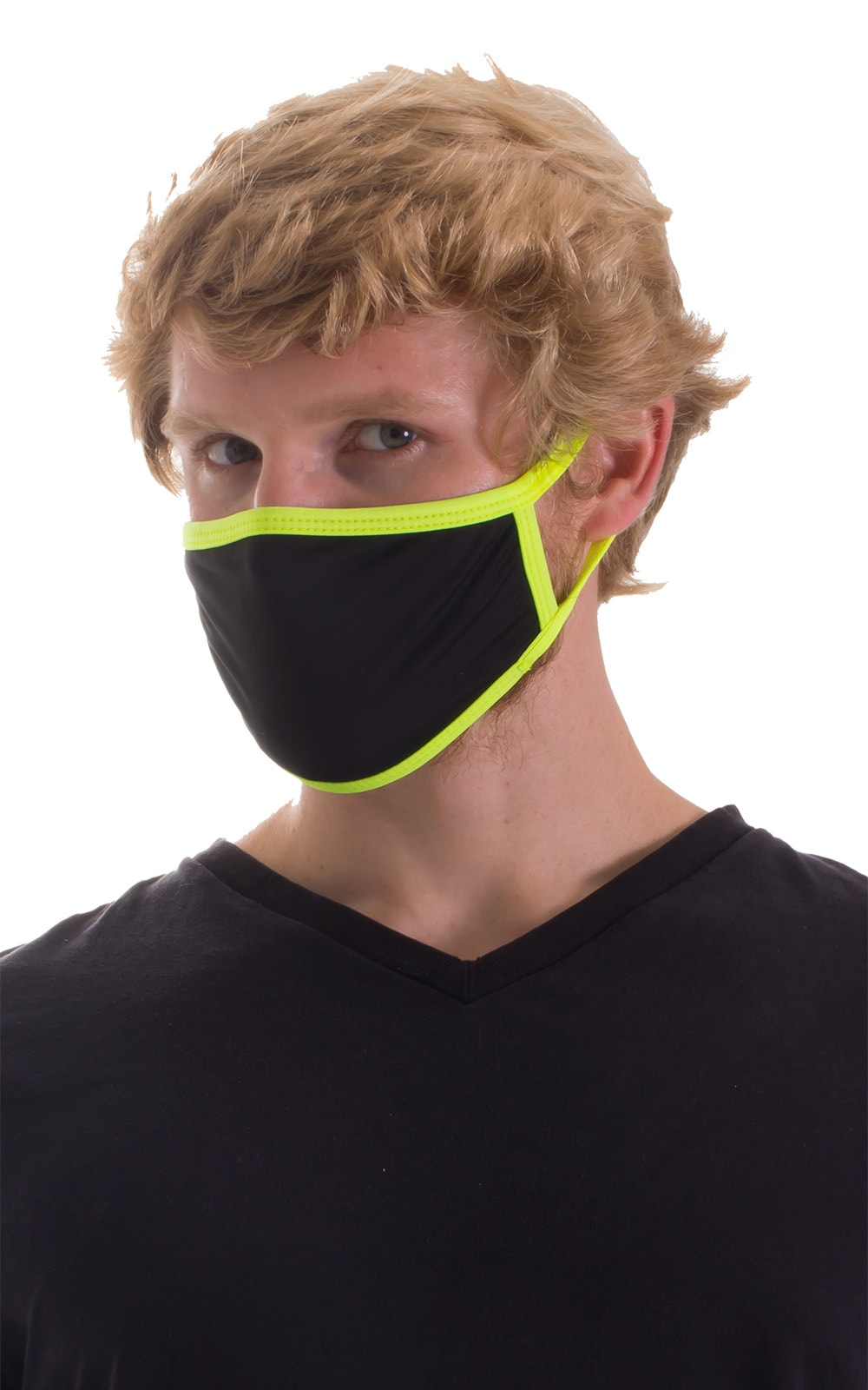 Black-Chartreuse 2-ply face mask 2