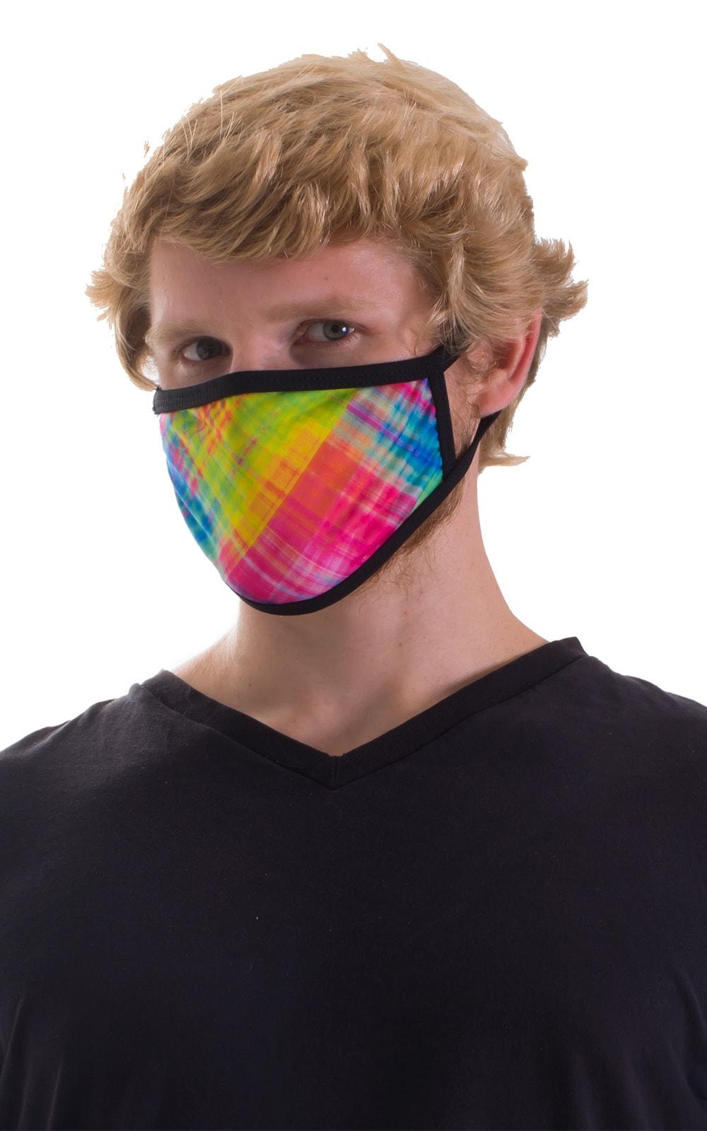 Diagonal Plaid-Black 2-ply face mask 5