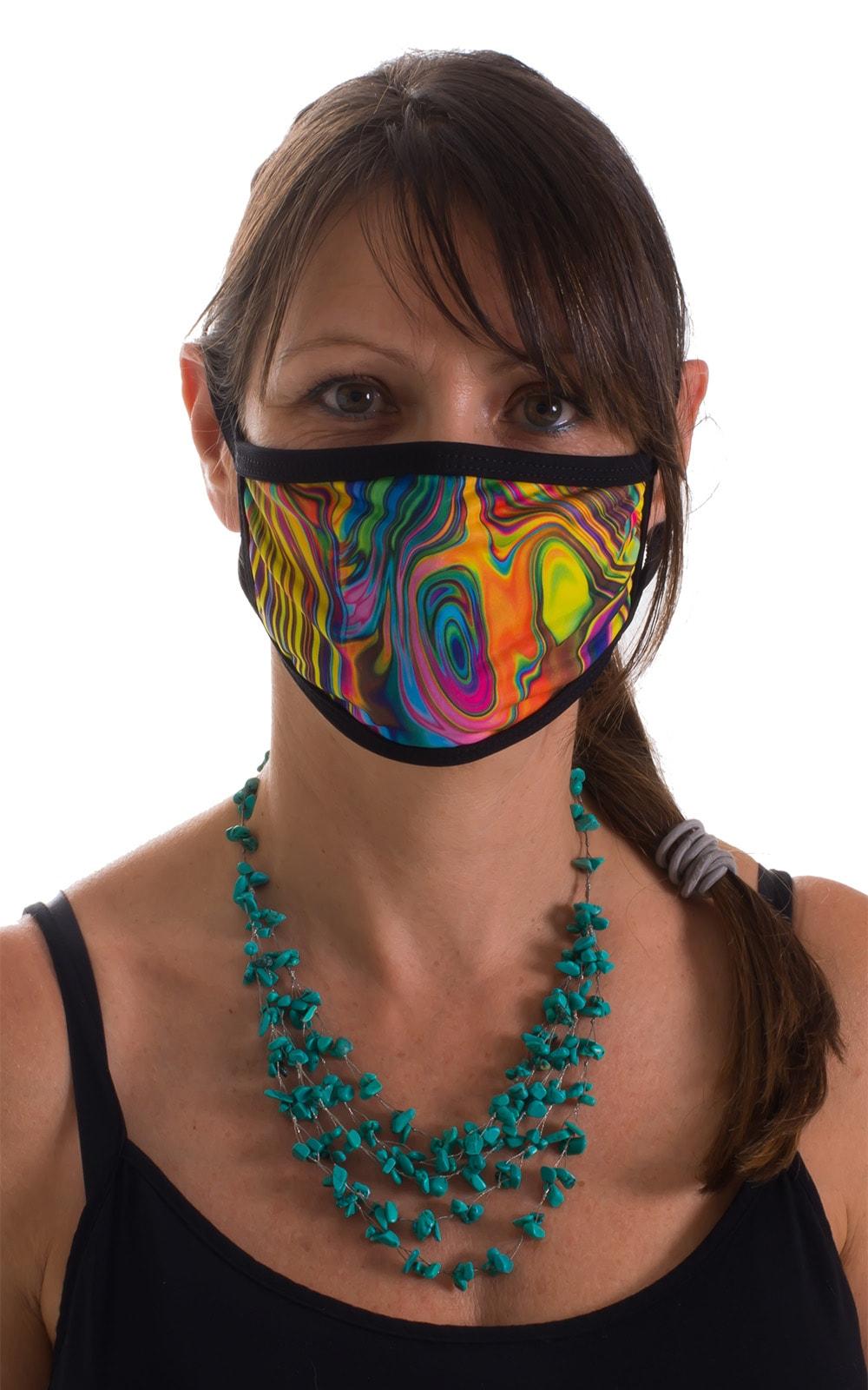 Neon Dali-Black 2-ply face mask 1
