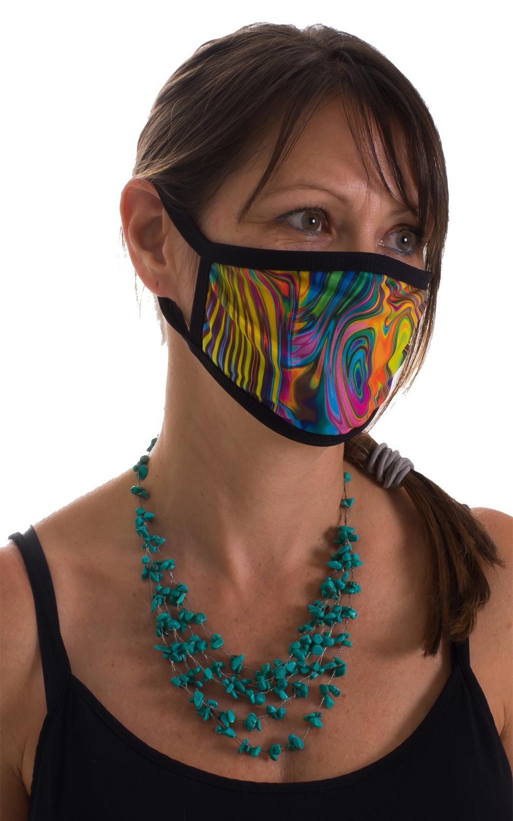 Neon Dali-Black 2-ply face mask 2