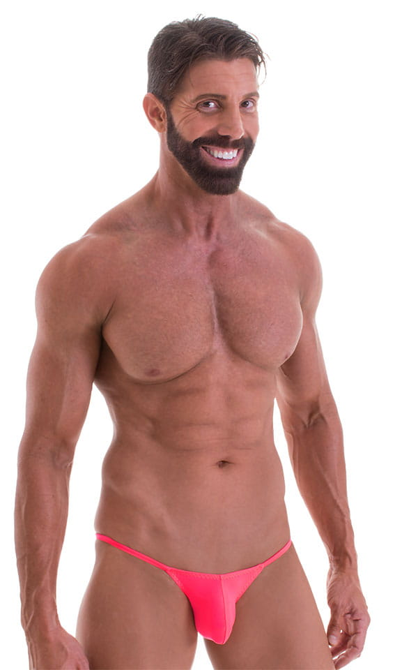 Stuffit Pouch Half Back Tanning Swimsuit in ThinSKINZ Neon Coral 1