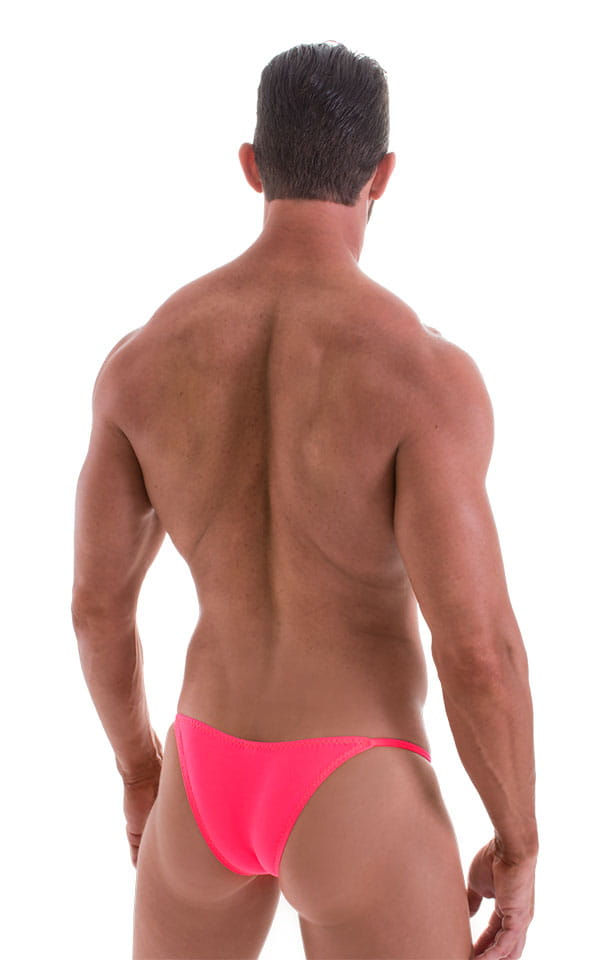 Stuffit Pouch Half Back Tanning Swimsuit in ThinSKINZ Neon Coral 3
