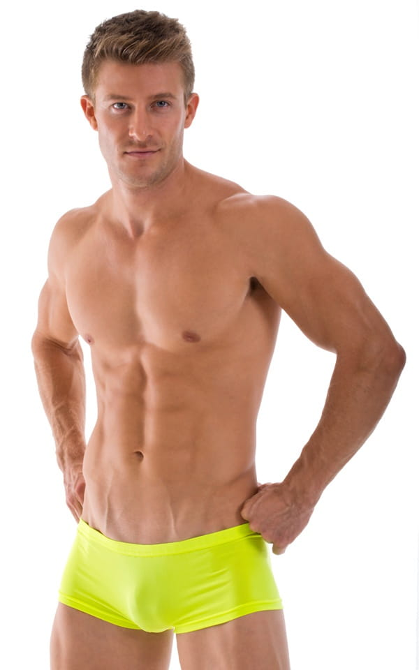 Extreme Low Square Cut Swim Trunks in Semi Sheer ThinSkinz Chartreuse 1