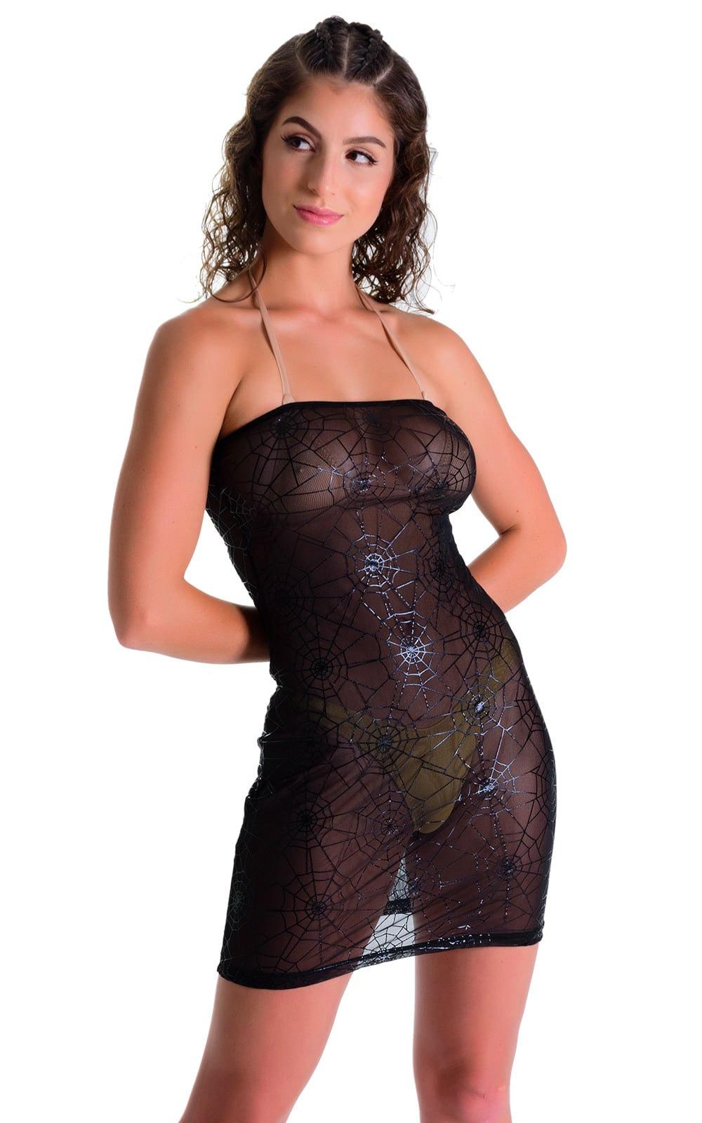 Mini Strapless Bodycon Dress in Black Spiderweb Mesh 3
