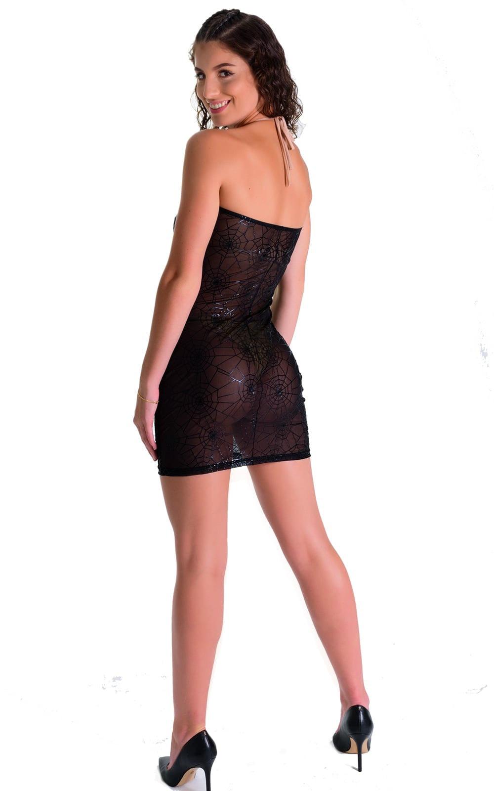 Mini Strapless Bodycon Dress in Black Spiderweb Mesh 4