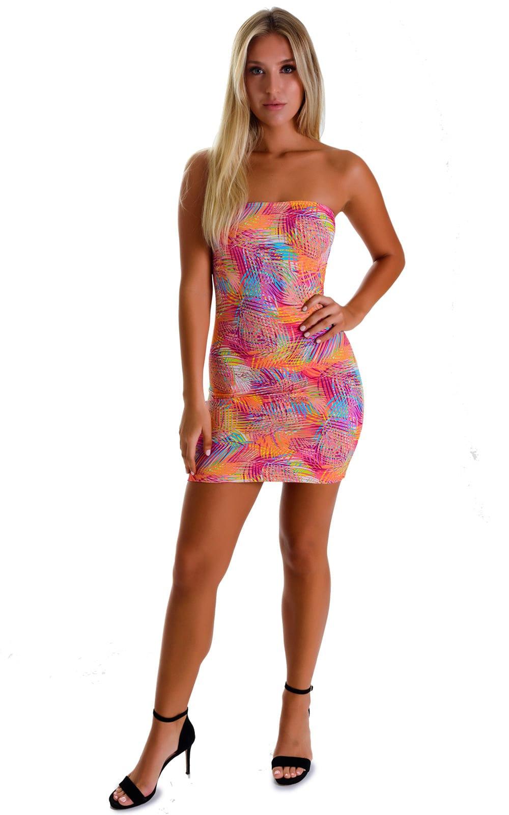 Mini Strapless Bodycon Dress in Jungle Palms Orange 3
