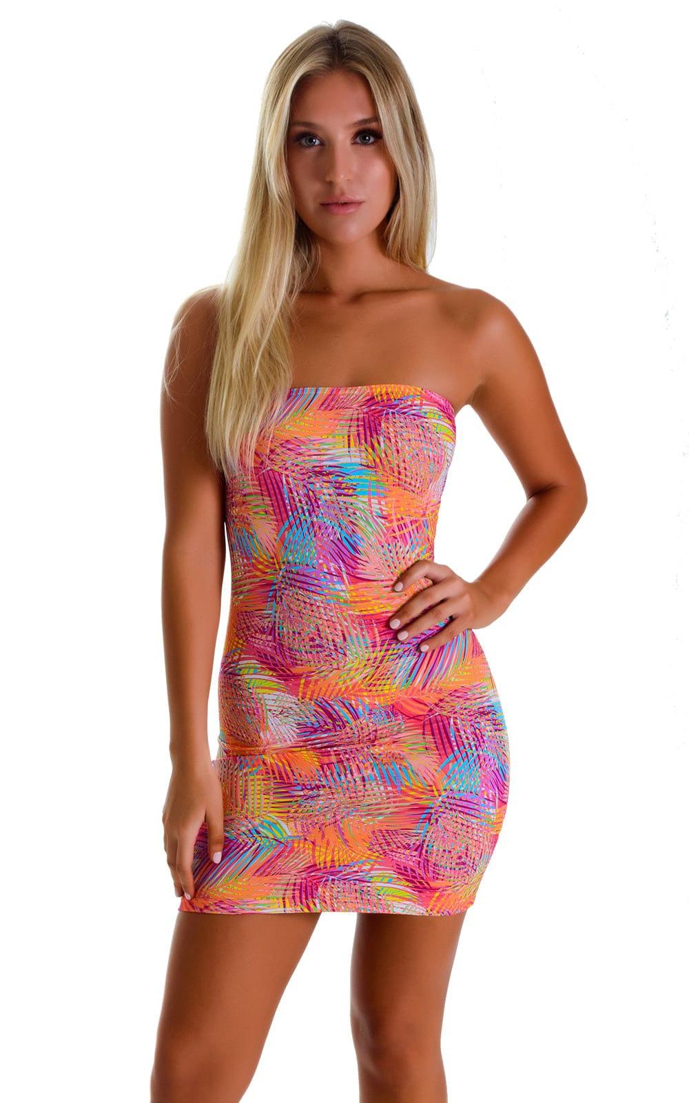 Mini Strapless Bodycon Dress in Jungle Palms Orange 1