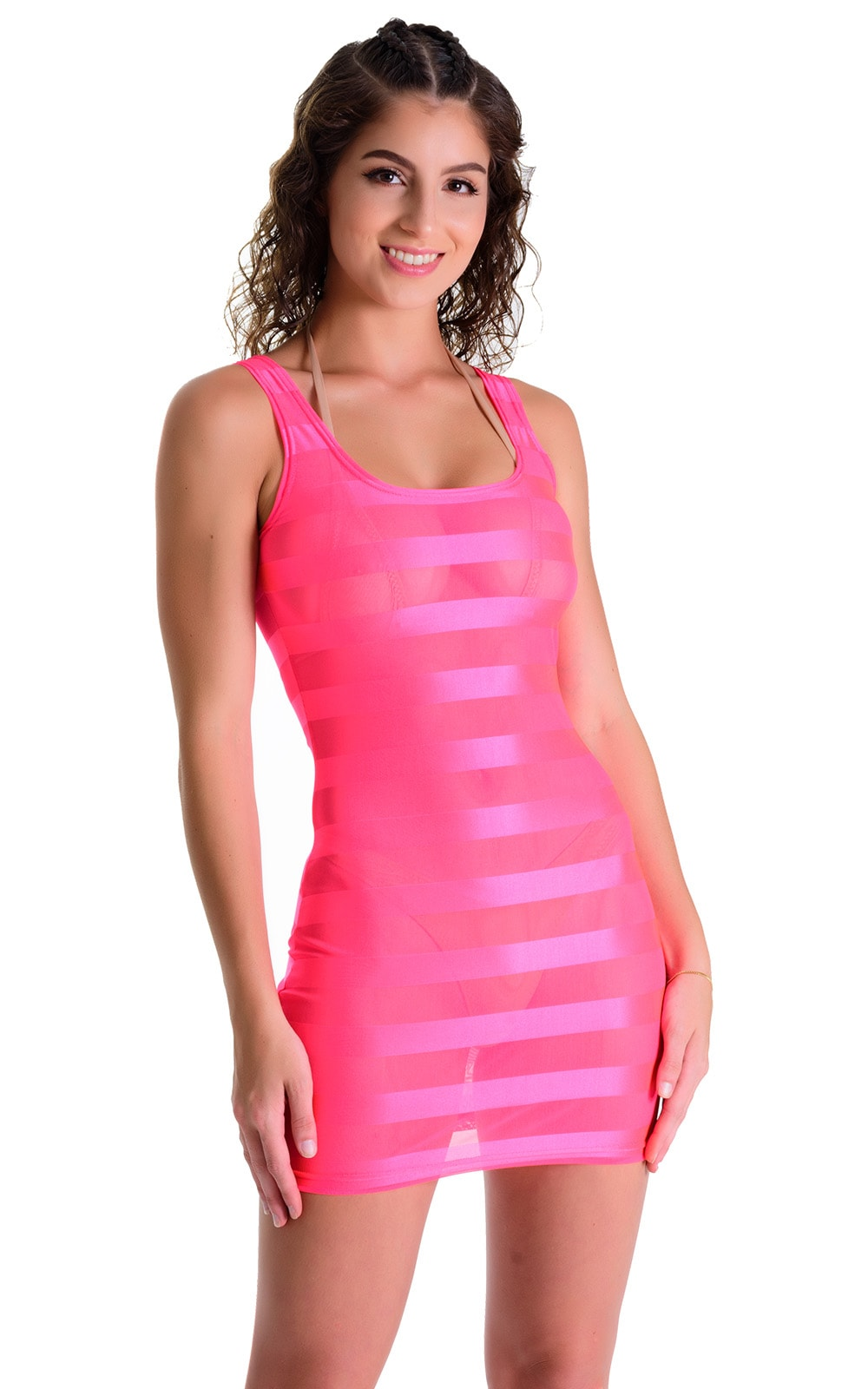Mini Dress in Fuschia Satin Stripe 1