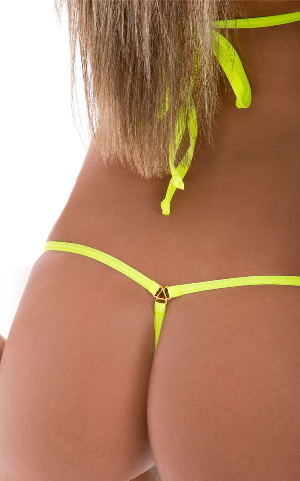 Twin Tip Micro G String Thong Swim Bottom in Lime and Chartreuse 4