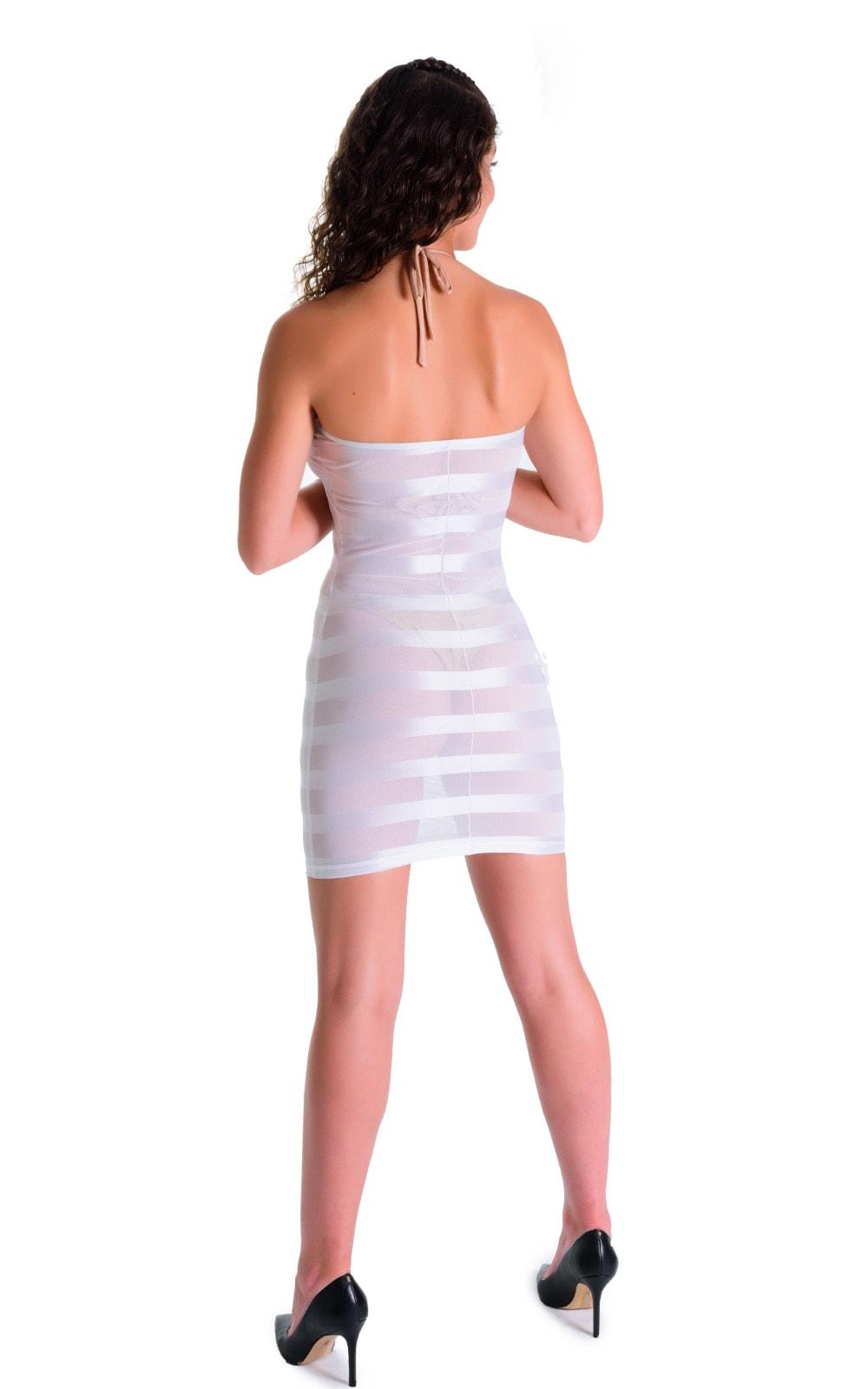 Mini Strapless Bodycon Dress in White Satin Stripe Mesh 2