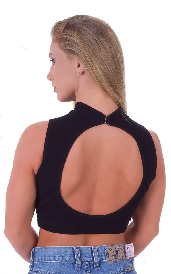 Key Hole Sport Fashion Top in Black Cotton Lycra 3