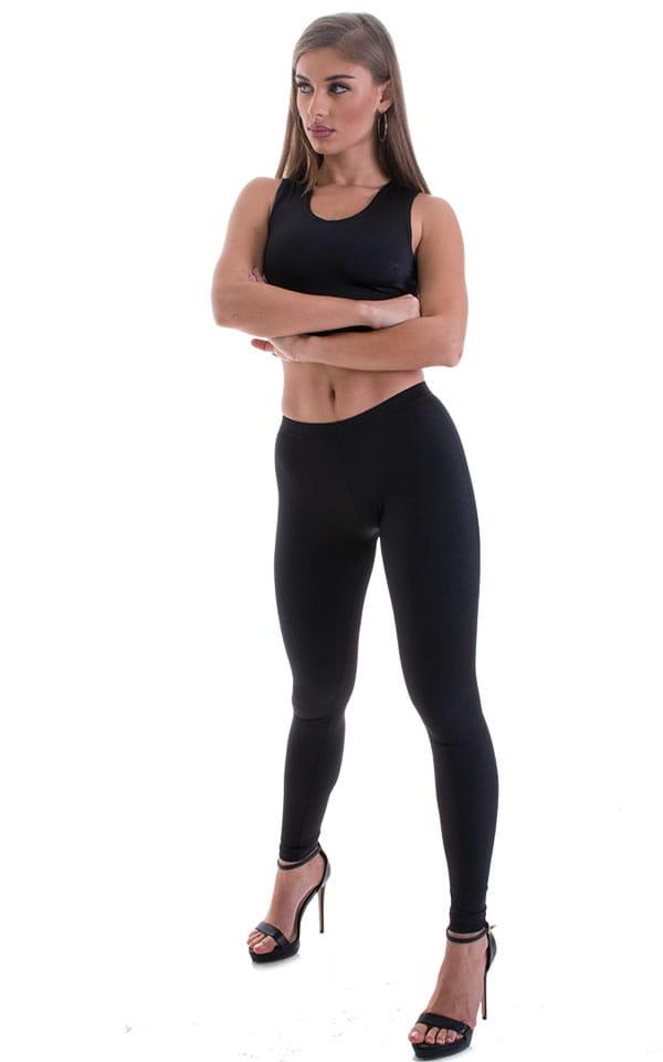Womens Low Rise Leggings - Fashion Tights in Black Lycra 1