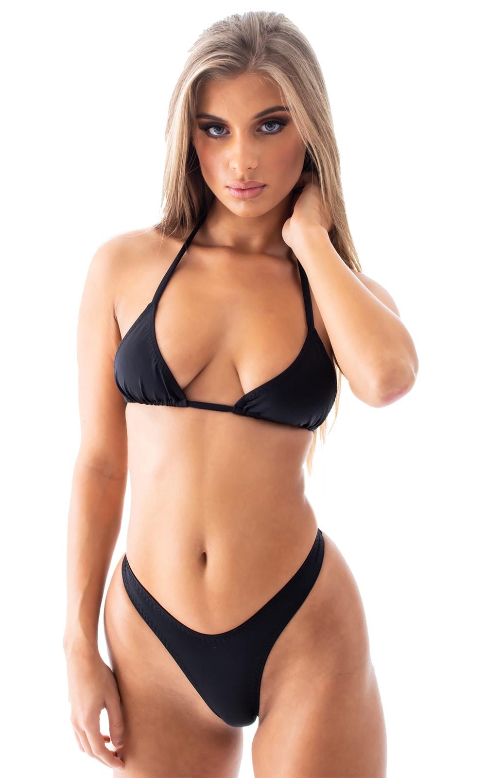 Brazilian Triangle Swim Top  in Black tricot-nylon-lycra 10