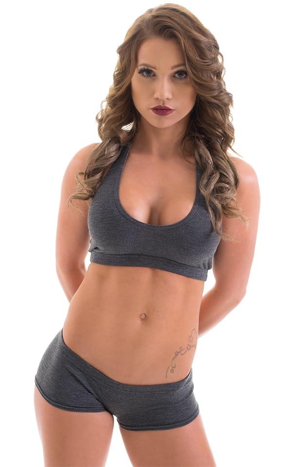 Workout Booty Shorts in Dark Heather Grey Cotton-Spandex 10oz 1