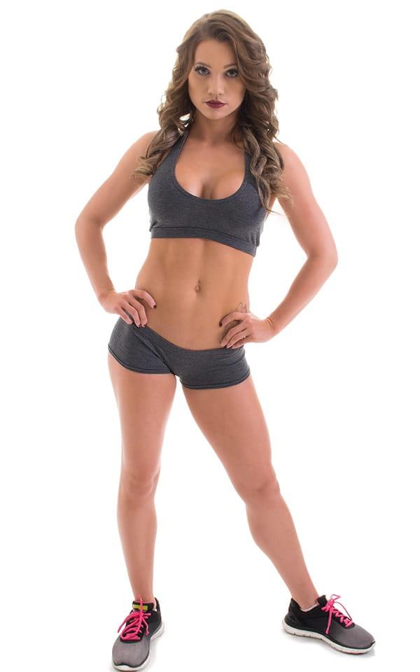 Workout Booty Shorts in Dark Heather Grey Cotton-Spandex 10oz 5