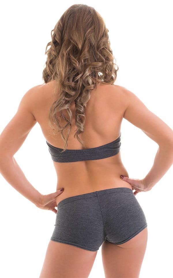 Workout Booty Shorts in Dark Heather Grey Cotton-Spandex 10oz 3