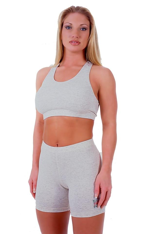 Womens Sport Top in Heather Grey Cotton-Spandex 10oz 1