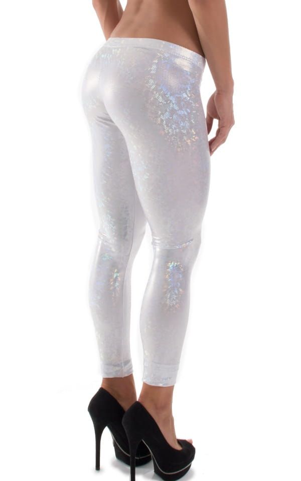 Womens Super Low Rise Leggings in Holographic White-Silver Shattered Glass 4