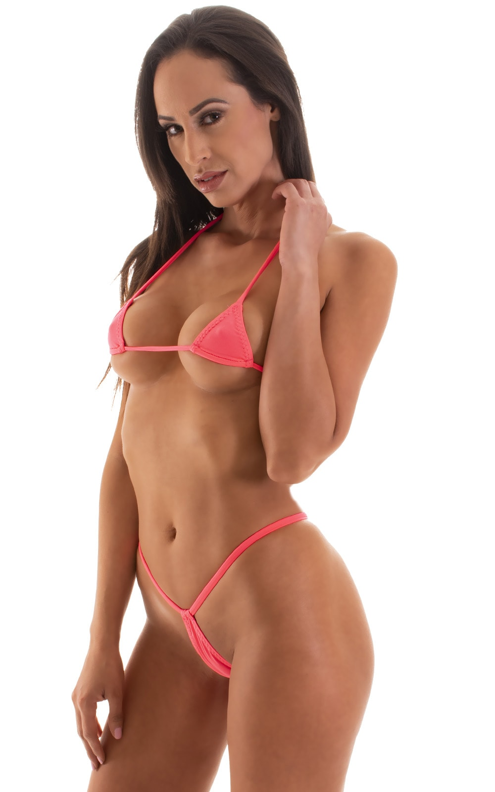 Micro Triangle Top in ThinSKINZ Neon Coral 4