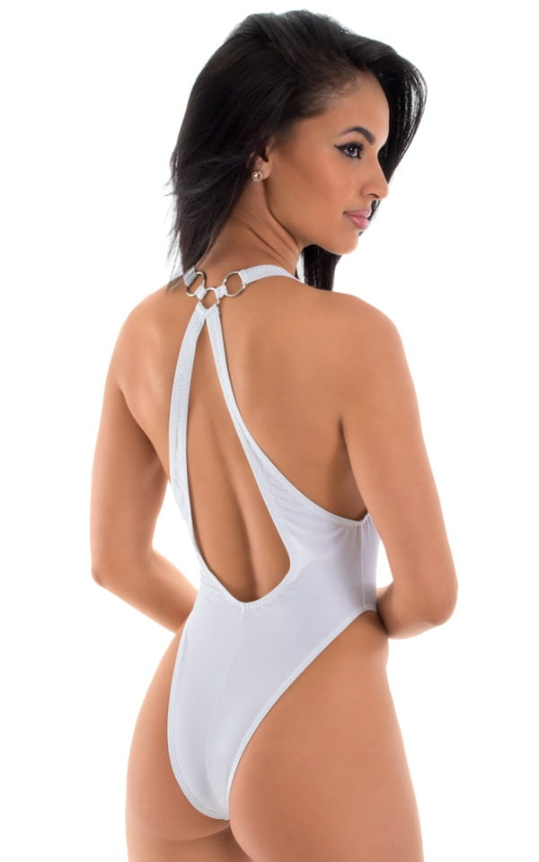 Plunging Neckline One Piece Tanga  in White Powernet 3