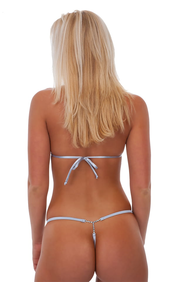 Womens Classic Triangle Swimsuit Top in Holographic Shattered Glass White Silver 4
