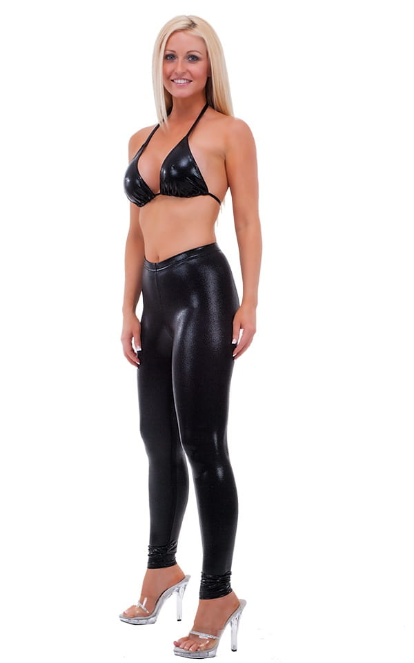 Womens Leggings - Fashion Tights in Metallic Mystique Black Black 4