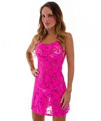 Beach Cover Up Flare Mini Dress in Semi Sheer Neon Pink Ada Stretch Lace