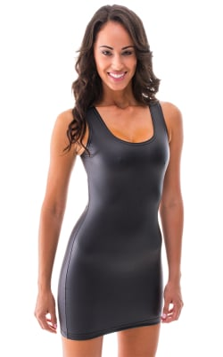 Sexy Mini Dress in Black Leather Superstretch Vinyl nylon-lycra