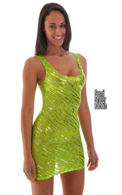 Semi Sheer Sexy Mini Dress in Metallic Gold on Neon Lime Mesh