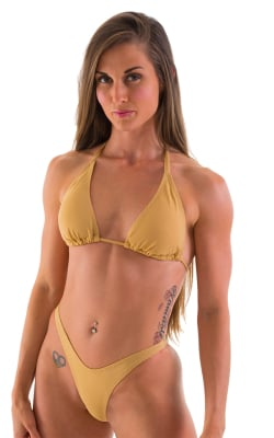 Womens Shaped Triangle Swimsuit Top in Tan